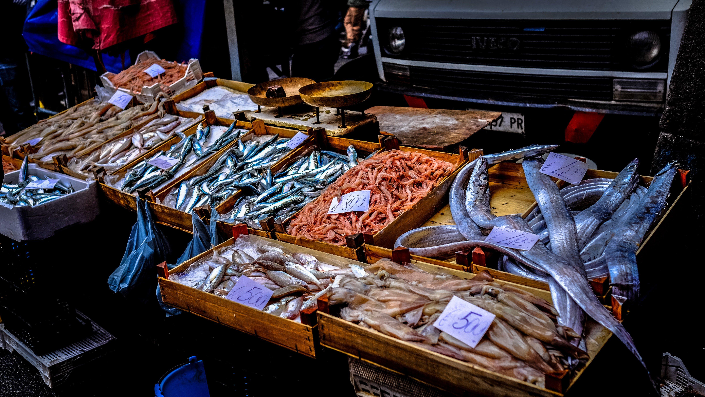 Świeże ryby na Sycylijskim targu: podstawa na dania rybne wysokiej jakości.