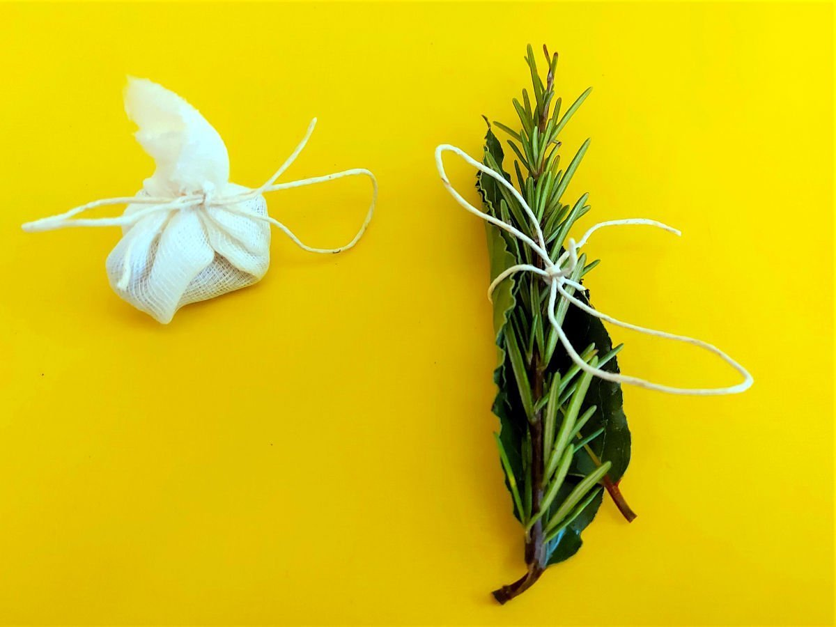 brasato al barolo wiązanie rozmarynu i liścia laurowego